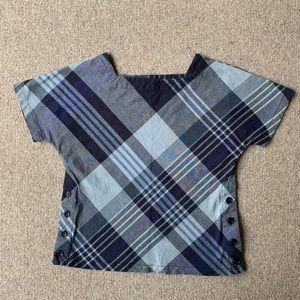 Engineered Garments plaid button side cotton shirt